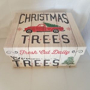 Other - Christmas Trees Red Truck Storage Nesting Box